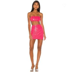 NEW Superdown Stacy Strapless Skirt Set Neon Pink